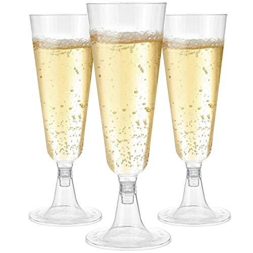 Hedume 100 Pack Champagne Flutes, 5oz Disposable Clear Plastic Champagne Glasses, Toasting Flute Set for Mimosas, Bloody Mary's, Wine Glasses, Sodas, Cocktail Cups, Parfaits, Sundaes etc