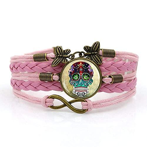 Pulsera tejida, cuerda rosa colorido arte del calavera, tiempo de piedras preciosas pulsera multicapa combinación de vidrio tejido a mano joyería de la moda de las señoras de la joyería de estilo euro