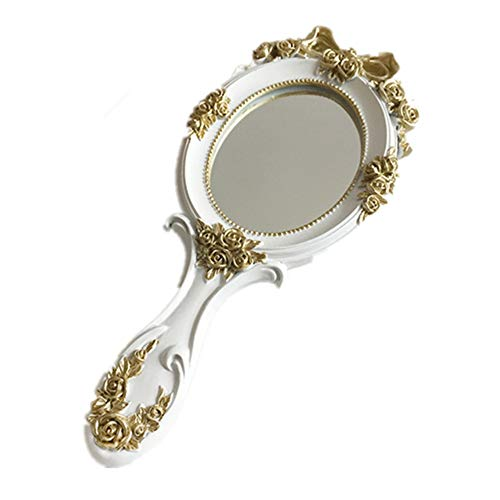 JIAGU Lighted Makeup Mirror Personality Makeup Mirror For Beauty Makeup, Can Be Used As A Makeup Mirror, Handle Mirror, Dressing Table Decoration(Green, Pink, White) (Color : Pink, Size : 12x26.5cm)