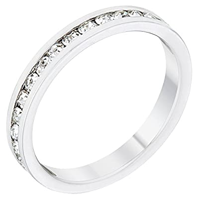 Kate Bissett Stylish Birthstone Stackables Swarovski Crystal Clear -April Size 9