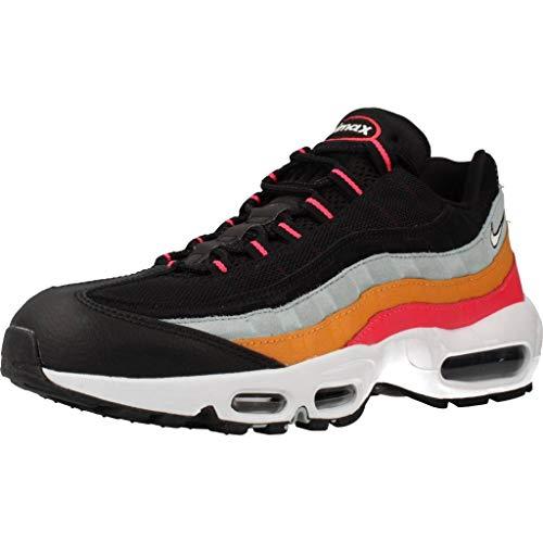 Nike Men's Air Max 95 Essential Running Shoes, Black (Black/White/Ocean Cube/Kumquat/Red Orbit/Black 002), 6 UK