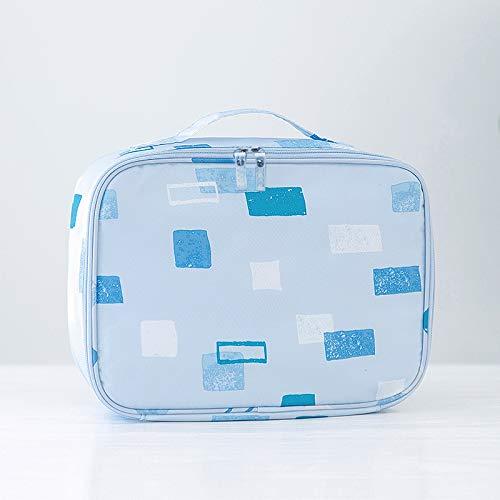 Coffret Cosmétique Féminin Sac Cosmétique Femelle Boîte De Rangement Portable Grande Capacité 24 * 18 * 9cm Un carré bleu