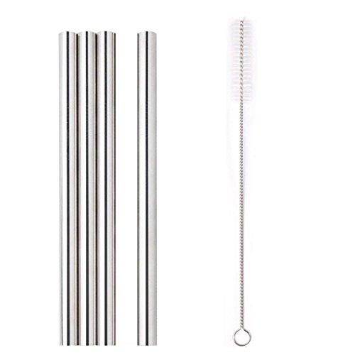 Diadia - Set di 4 cannucce in acciaio inox extra larghe da 12 mm, riutilizzabili, 20 cm, con spazzola per la pulizia, per frullati, bolle, tè, frappè