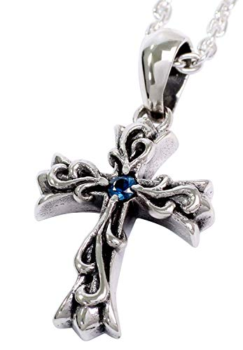 [グランデュアー]GRAN DEUR ブルーサファイア アラベスク クロス シルバー 925 ネックレス (チェーン付き) メンズ 天然石 十字架