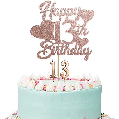 Happy 13th Birthday Cake Topper, Rose Gold 13th Birthday Cake Topper, 13th Birthday Cake Topper for Girls with Number 13 Candles for Girl 13th Birthday Party Decorations