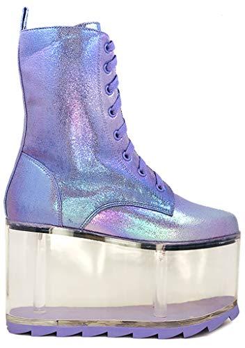 YRU Qloud Ultra Platform Boots in Metallic Lavender - Lavender - Rave, Goth, EDM, Festival (Numeric_6)