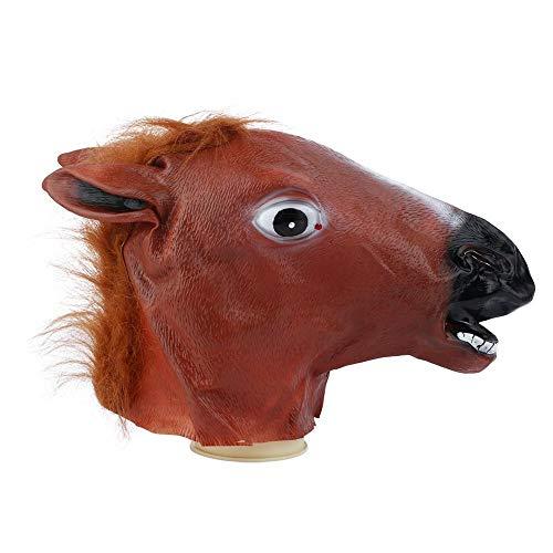 Wifehelper Maschera a Forma di Testa di Cavallo, novità Costume di Halloween Maschera in Lattice a Forma di Cavallo Crazy Animal Head Mask Party Halloween Decor