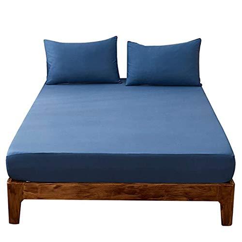 YUDIZWS Protector De Colchón Mash con Bolsillo Ajustable hasta 30cm Cubrecolchón Impermeable Transpirable Anti-Ácaros Silencioso (Color : Dark Blue, Size : 150x200+25cm)