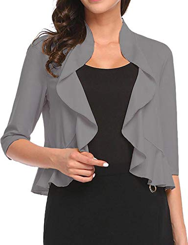 Women's Open Front Cropped Cardigan 3/4 Sleeve Casual Shrugs Jacket Draped Ruffles Lightweight Sweaters (Grey, XX-Large)