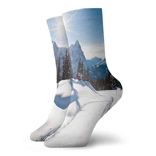Calcetines suaves de longitud media pantorrilla, paisajes panorámicos de invierno en montaña con clima soleado y fotos de árboles, calcetines para mujeres y hombres, ideales para correr