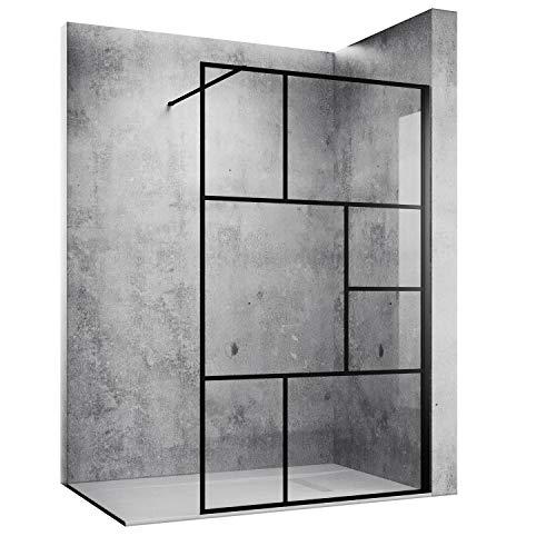 SONNI Duschwand 120 x 200 cm Walk In Schwarz Design aus 8mm Nano Sicherheitsglas,ESG Duschabtrennung mit Stabilisator auf Duschtassen oder Boden montierbar