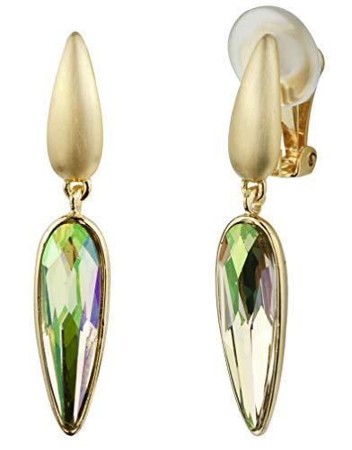 Traveller Pendientes de clip para mujer, colgantes chapados en oro de 22 quilates, verde luminoso, 157430