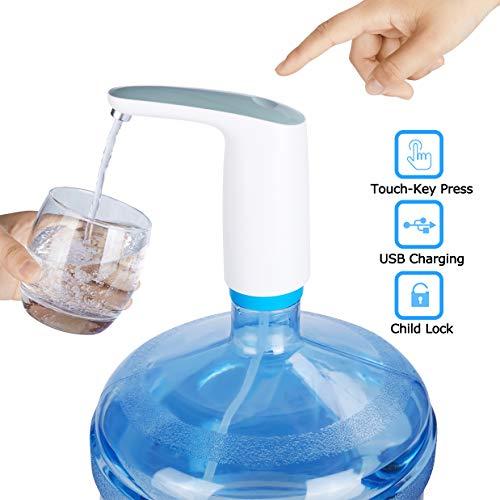Water Bottle Pump,5 Gallon Water Dispenser,Gallon Water Pump,Rechargeable Wireless Bottled Water Dispenser Pump for 2-5 Gallon Jug- HomTek