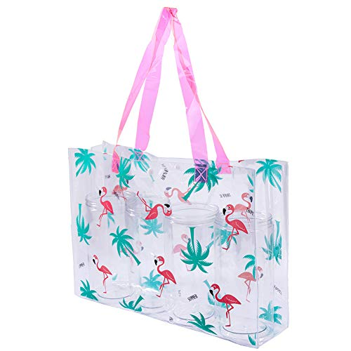 Klar Einkaufstasche Sicherheit Arbeits-Schulter-Beutel-Frauen-Handtaschen-PVC Transparent Strandtaschen Mit Snap