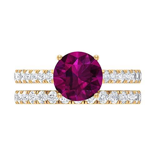 Rosec Jewels 14 quilates oro amarillo redonda round-brilliant-shape H-I Diamond rodolita
