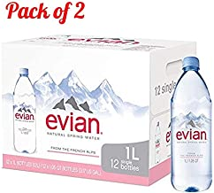 Evian Natural Spring Water (One Case of 12 Individual Bottles) Naturally Filtered Spring Water (Pack of 2)