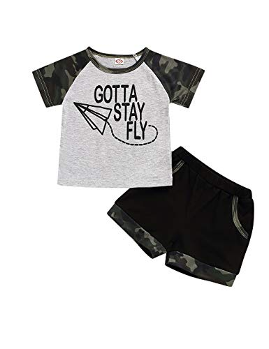 Camiseta infantil bilison Baby Boy Summer Clothes Got Stay Fly Top and Short Pants Roupa de camuflagem, Camouflage, 18-24 Months
