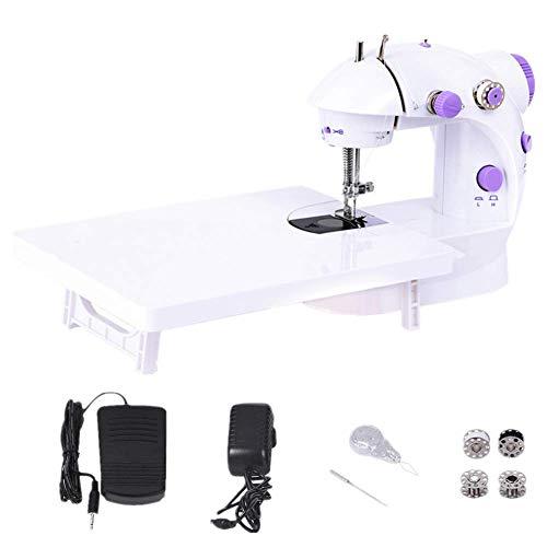 WeFoonLo Doble velocidad portátil Mini máquina de coser con mesa de luz y extensión Para principiantes Travel Kids, 6 x bobinas + pedal + adaptador de corriente + aguja + enhebrador