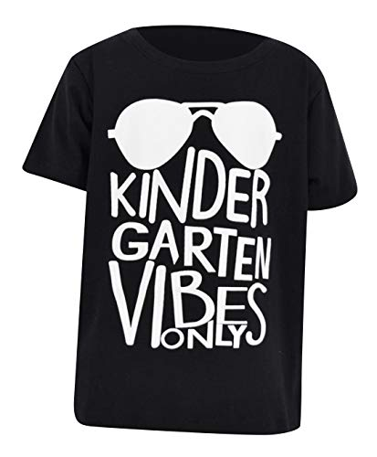 Unique Baby Boys Kindergarten Vibes Only Back to School Shirt (6, Black)