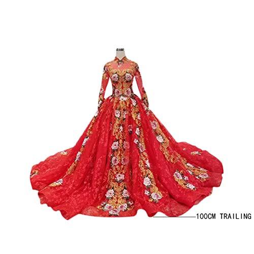 100cm hinteres großes rotes Spitze-Stehkragen-Hochzeitskleid, chinesisches traditionelles Element-Hochzeitskleid, Bankett-Kleid und Erwachsen-Kleid.Hochzeitskleid Hochzeitskleid ( Size : US16w )