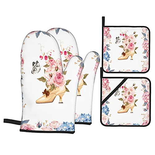 BIBOZHAO 4Pcs Oven Mitts and Pot Holders Set,Floral And High Heels Spring Garland Of Peony Rose High Heels Full Of Flower,Heat Resistant Kitchen Gloves for Cooking,Baking,Grilling,BBQ