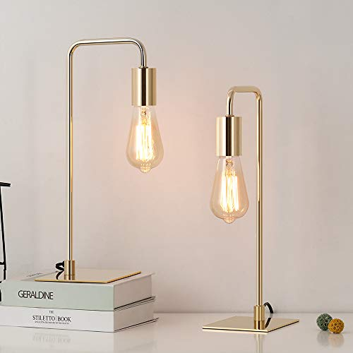 Edison Table Lamps, Gold Desk Lamp, Industrial Bedside Lamp for Bedroom, Living Room, Dorm, Small Metal Lamp for Reading, Nightstand, Dressers, Set of 2
