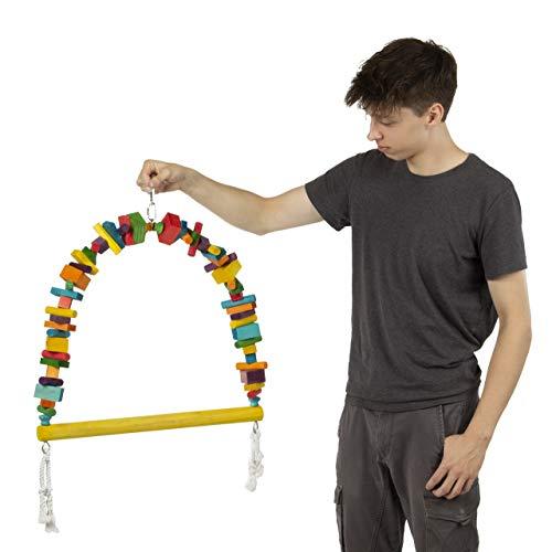 HappyBird ®   Papageienschaukel   Wooden Blocks Arche Swing King Size   68 x 55 m   XXL Schaukel für Papageien