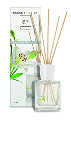 ipuro Essentials Raumduft white lily - Raumduft für ein blumig-zartes Raumklima - Lufterfrischer mit hochwertigen Inhaltsstoffen (200ml) - aus Glas mit Rattanstäbchen
