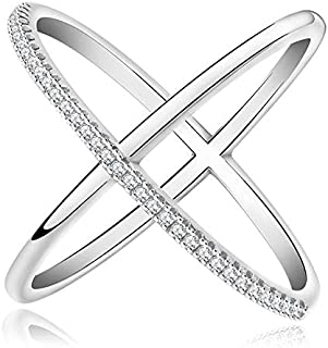 Modyle New Rose Gold Plated X Ring Simulated Diamond CZ Stone Cross Ring for Women (Silver, 8)
