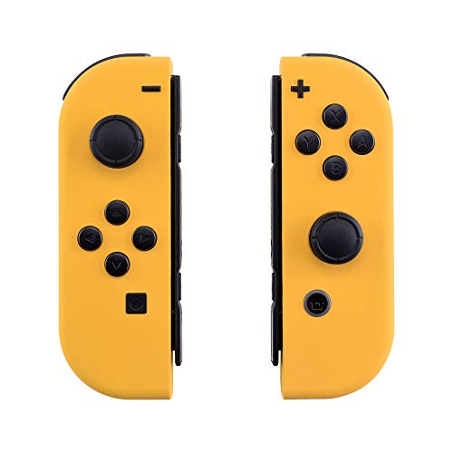 eXtremeRate Soft Grip Cover Impugnatura Custodia JoyCon Controller Case DIY Ricambio per Nintendo Switch Joy-Con(Giallo) con Kit di Pulsanti-NON Include JoyCon