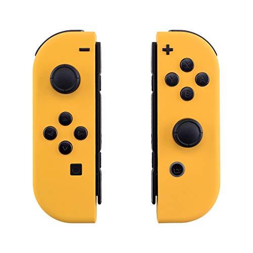 eXtremeRate Carcasa Joy-con para Nintendo Switch Funda de Agarre de reemplazo Shell de Bricolaje esmerilada con Botón Completo para Nintendo Switch No Incluye la Carcasa de la Consola (Amarillo)