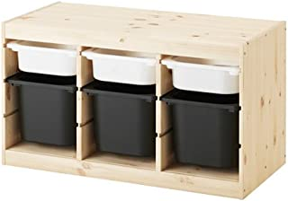 【IKEA/イケア】TROFAST 収納コンビネーション, パイン材 ホワイト, ブラック