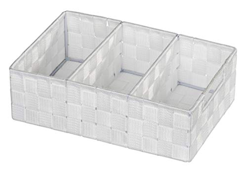 WENKO Organizer Adria, Aufbewahrungskorb mit 3 Fächern und praktischem Griff, feste Trennwände, hochwertiges Kunststoffgeflecht mit Metallstangen für extra Stabilität, 32 x 10 x 21 cm, Weiß