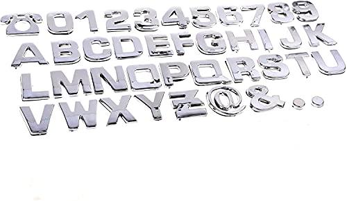 Oacvien Pegatinas 3D cromadas para coche, emblema de coche, letras del alfabeto, número de símbolos, pegatinas para coche y moto