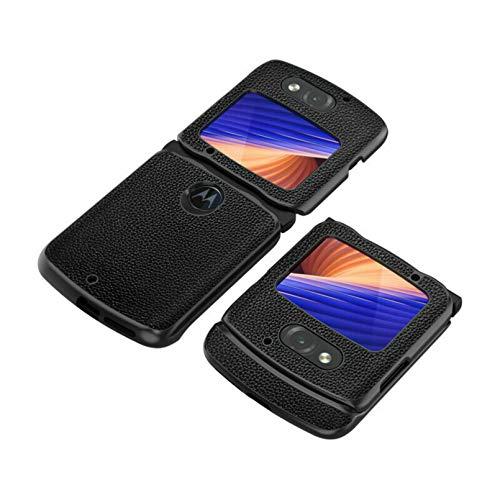 Xindemei für Motorola Razr 5G Lychee Hautstruktur Echtleder All-Inclusive Stoßdämpferschutz Handyhülle Abdeckung (Schwarz)