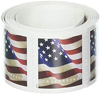 USPS 100 US Flag Forever Postage Stamps Coil – Roll of 100 Stamps, Stamp Design May Vary