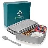 GREENECHO® Nachhaltiges Edelstahl Brotdose 1000ml - inkl. Faltlöffel - Lunchbox mit Fächern - Eco Bento Box BPA und Plastikfrei - auch für Kinder, Outdoor, Sport, Wandern