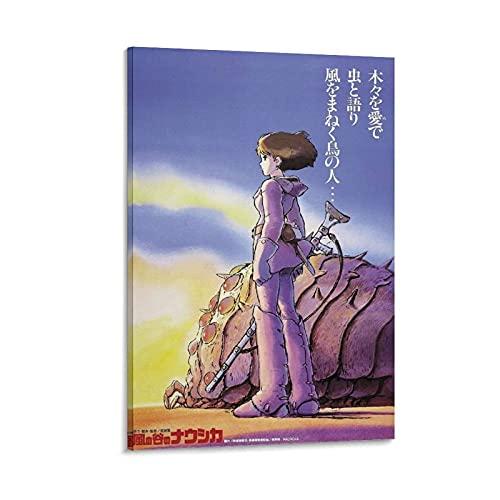 Nausicaa Valle del Viento Anime Portada de lona para pared y póster moderno para decoración de dormitorio familiar de 50 x 75 cm
