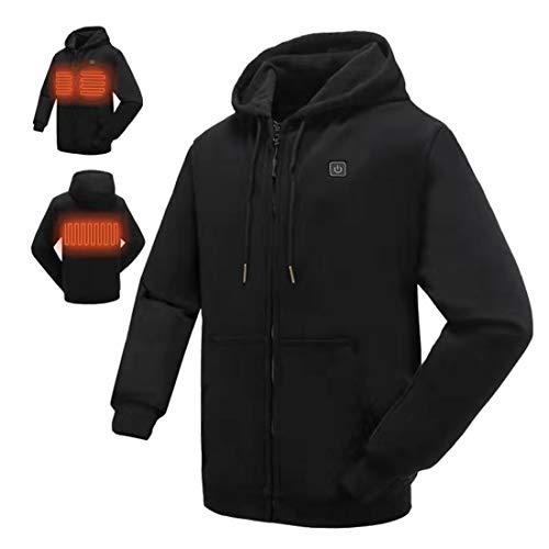 N NIFVAN Heated Hoodie with Battery Pack for Men Women Full-Zip Fleece 7.4V Hooded Sweatshirt (Medium, Black)