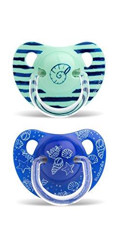 Suavinex - Pack de 2 Chupetes +18 Meses. Tetina Anatómica de Silicona 0% Bisphenol, Color Verde y Azul Diseño In The Sea
