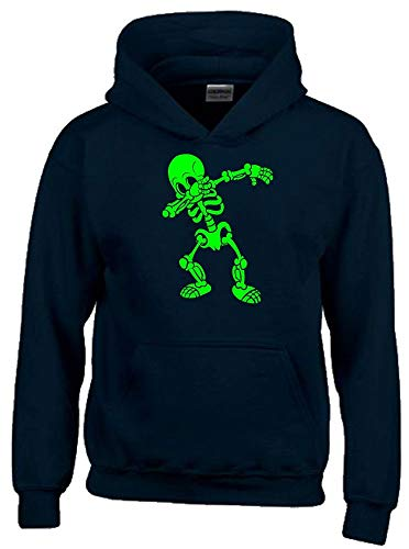 Dabbing Skelett 3C Hoodie Sweatshirt mit Kapuze schwarz-Green Gr.140 cm