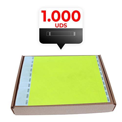 MP - Tyvek Pulseras 1000 unidades para Eventos, Color Amarillo