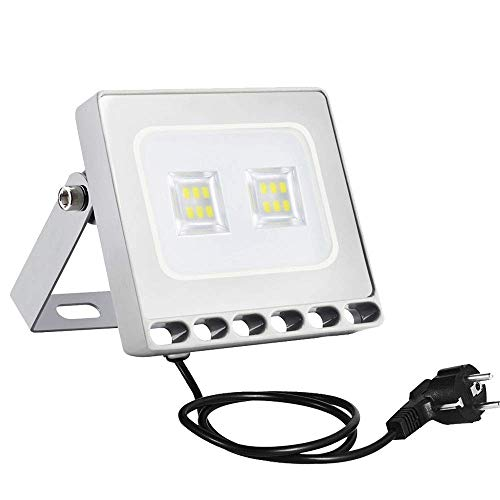 Sararoom 10W Foco Proyector LED Ultra Plano,IP65 Impermeable Floodlight,Bombillas Reflector LED con enchufe,800LM,blanco frío,6500K,para jardín,terraza,fábrica,estadio