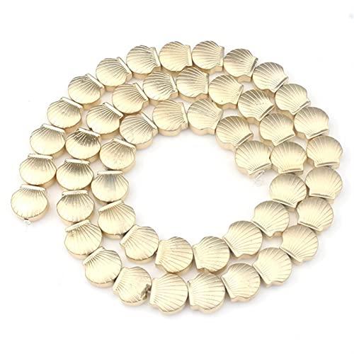 Bigbarry Lujoso Cuadrado Mate Triángulo elíptico Gold pood Spacer Beads para joyería Haciendo Perlas de Piedra Natural Bricolaje Bricolaje Liso (Color : Shell Shape)