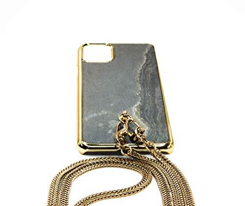 Handykette [ECHTER SCHIEFER] iPhone 11 Pro Max mit goldener Kette von Clever Case/Handyhülle zum Umhängen iPhone/Handytasche zum Umhängen