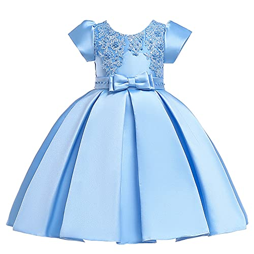 WAWALI Vestido de niña Vestidos para Niñas de Malla Casual Bordado de Encaje Princesa Ropa de Bebé de Manga Corta Vestido de Niños Ropa de 3-10 años, azul, 6-7 Años