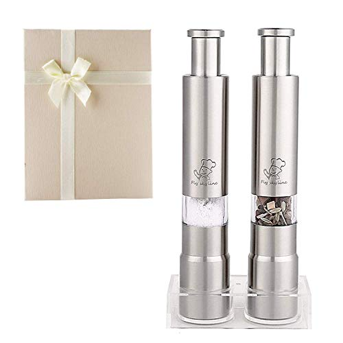 Salt & Pepper Grinder Set of 2 Stainless Steel Pump One Hand Operated With Stands Mini Thumb Push Mill