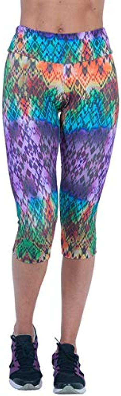 Women's High Waist Fitness Yoga Sport Pants Printed Strch Cropped Leggings High Waist Shorts Cotton Deport de women  ES   Purple, L