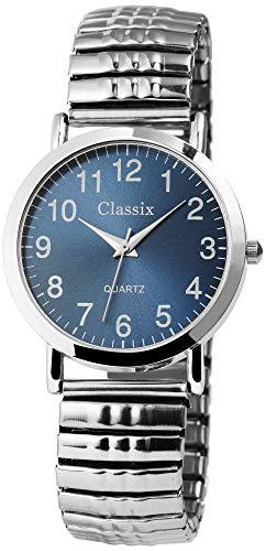 Classix Herrenuhr Blau Silber Zugband Zugarmband Metall Armbanduhr