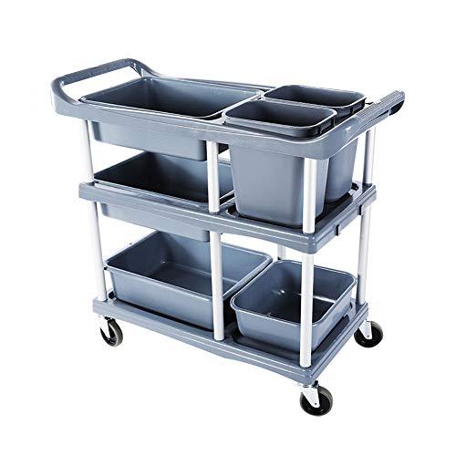 ZJM Beauty Salon Warenkorb 3-Tier Storage Rolling Cart, Küchenbuswagen Lebensmittelwagen Catering Rollwagen für Cafés Restaurants, mit 2 Eimern und 4 Tablett